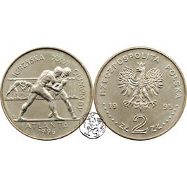 III RP, 2 złote, 1995, Atlanta 1996 - zapaśnicy