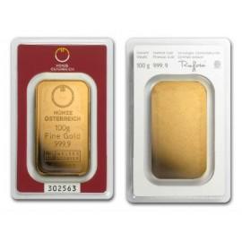 Austria, Munzeosterreich, Sztabka złota 100 g