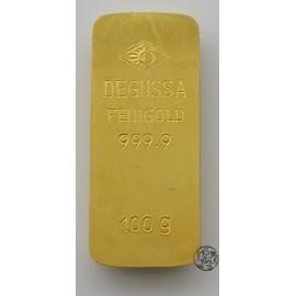 Niemcy, sztabka złota, 100 gram Au 999, Degussa