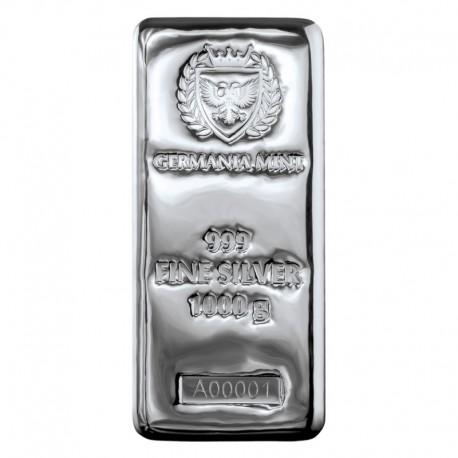 Sztabka srebra, 1000 gram Ag 999
