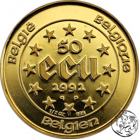 Belgia, 50 ecu, 1991, 1/2 oz
